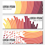 Set of orange abstract header banners with curved lines and place for text. Royalty Free Stock Images