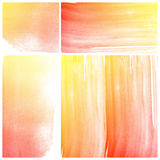 Set of orange Abstract water color art paint Stock Images