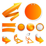 Set orange arrows, labels and stickers, buttons Stock Photography