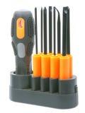 Set of orange-black screwdrivers with bits Royalty Free Stock Image