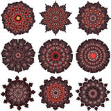 Set of orange-brown mandalas Stock Photos