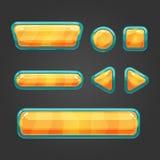 Set orange  button in cartoon style Royalty Free Stock Photos