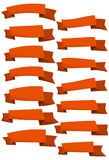 Set of orange cartoon ribbons and banners for web design. Great design element  on white background. Royalty Free Stock Images