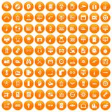 100 set orange. 100 set in orange circle isolated on white vector illustration Vector Illustration
