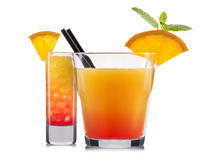 Set of orange cocktails with decoration from fruits and colorful straw isolated on white background Royalty Free Stock Images