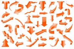 Set of orange 3d arrows. Shiny icons. Vector illustration isolated on white background Royalty Free Stock Image