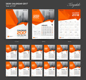 Set Orange Desk Calendar 2017 year size  6 x 8 inch template. Set of 12 Months, Week Starts Monday, flyer design Royalty Free Stock Photo