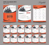 Set orange Desk Calendar 2019 year size 6 x 8 inch template, Set of 12 Months, Week Starts Monday, flyer. Design stock illustration