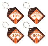 Set of Orange Discount Labels Stock Images
