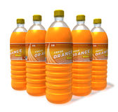 Set of orange drinks in plastic bottles Stock Photos