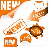 Set of orange elements for new items Royalty Free Stock Photos