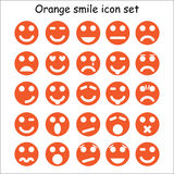 Set of orange emoticons Royalty Free Stock Photo