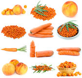 Set of orange fruits, berries and vegetables. On the white background Stock Photography