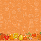 Set of orange fruits and vegetables on orange seamless background Royalty Free Stock Images
