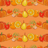 Set of orange fruits and vegetables on orange seamless pattern Stock Images