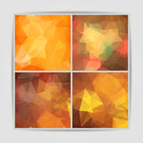 Set of orange geometric backgrounds with triangular pol Stock Image