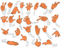 Set of orange hands Stock Photography