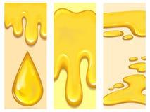 Set of orange honey drops flayer brochure and yellow splashes cards healthy syrup golden food liquid drip vector. Illustration. Sweet golden flowing dessert Stock Photos