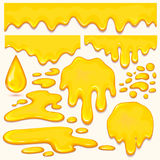 Set of orange honey drops and yellow splashes healthy syrup golden food liquid drip vector illustration. Royalty Free Stock Photo