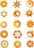 Set of orange icons and logos. Vector shapes and elements, on the withe background Royalty Free Stock Photos