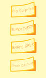 Set of orange labels on rough paper texture Royalty Free Stock Photo