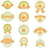 Set of orange labels Royalty Free Stock Photos