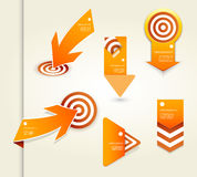 Set of orange labels for wide variety of use. Stock Photos