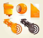 Set of orange labels for wide variety of use. Royalty Free Stock Photography