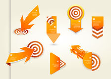 Set of orange labels for wide variety of use. Royalty Free Stock Photos