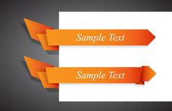 Set of orange origami ribbon for your text. Stock Image