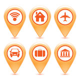 Set of orange pointer icons Royalty Free Stock Photography