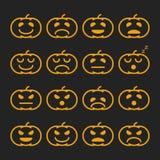 Set of orange pumkin emoticons, emoji and avatar. Halloween - 31 october. Set of linear orange pumkin emoticons, emoji and avatar. Halloween - 31 october Royalty Free Stock Images