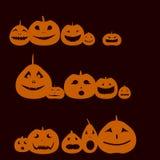 Set of orange pumpkins of Halloween Royalty Free Stock Photo