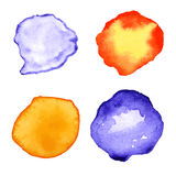 Set with orange and purple watercolor splashes, spots, dots Stock Photos