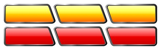 Set of orange and red glass buttons. Set of orange and red isolated glass buttons with gloss and metal edge Stock Photo