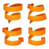 Set of orange retro ribbons and labels. Set of orange retro celebration ribbons and labels. Bright ribbon for your design on white background. Vector Royalty Free Stock Photos