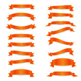 Set of the orange ribbons with yellow straights Royalty Free Stock Photo