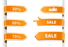 Set of orange sale labels. Stock Photo