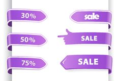 Set of orange sale labels. Royalty Free Stock Photography
