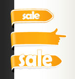 Set of orange sale tags. Royalty Free Stock Photos
