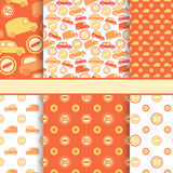 Set of orange seamless toy cars patterns. Set of seamless toy cars patterns - orange vector pattern for baby boy Stock Image