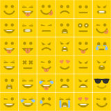 Set orange square smileys Stock Photo