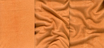 Set of orange suede leather textures. For background Royalty Free Stock Images