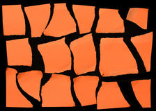 Set Of Orange Torn Paper Stock Photography