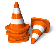 Set of orange traffic cones Stock Image