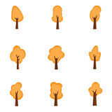 Set of orange tree collection stock Stock Photography