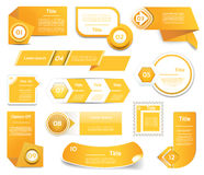 Set of orange vector progress, version, step icons Stock Photo