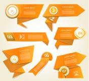 Set of orange vector progress, version, step icons Stock Photos
