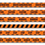Set of orange warning tapes Stock Images