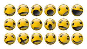 Set of orange yellow smiles. Royalty Free Stock Image